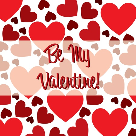 Be My Valentine red heart scatter card in vector format Stock Vector - 19644641