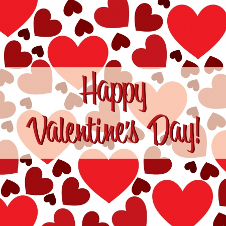 scatter: Happy Valentine s Day red heart scatter card in vector format
