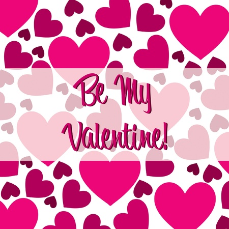 Be My Valentine pink heart scatter card in vector format  Stock Vector - 19644637