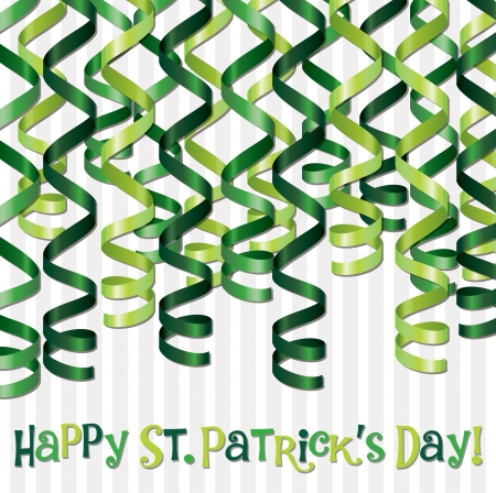 Happy St  Patrick s Day curling ribbon card in vector format  Vector