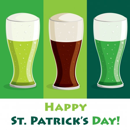 eire:  Happy Saint Patrick s Day  beer card in vector format
