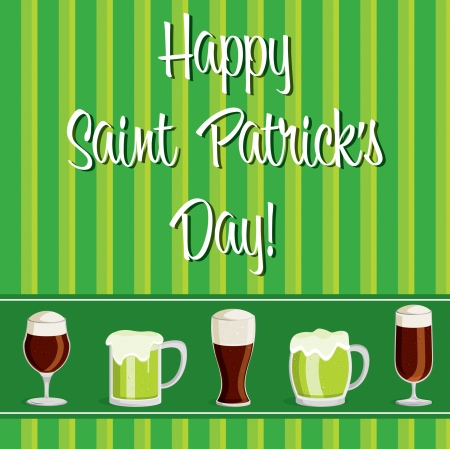 saint patrick��s day:  Happy Saint Patrick s Day  beer card in vector format