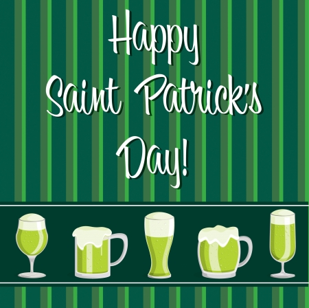 Happy Saint Patrick s Day  beer card in vector format  Stock Vector - 19644661