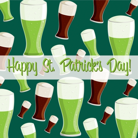 beer card:  Happy St  Patrick s Day  beer card in vector format