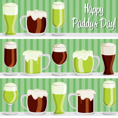 eire:  Happy Paddy s Day  shelf beer card in vector format  Illustration