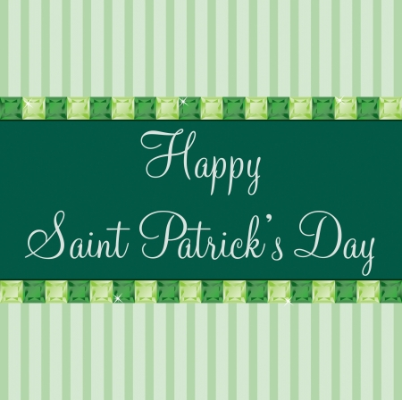 peridot: Green emerald and tourmaline bling Saint Patrick s day card in vector format  Illustration