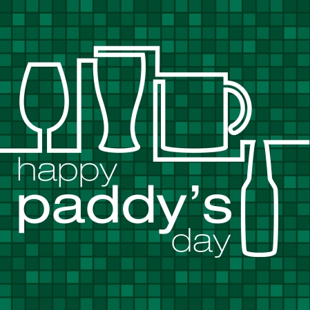 saint patrick's day:  Saint Patrick s Day  beer glass card in vector format