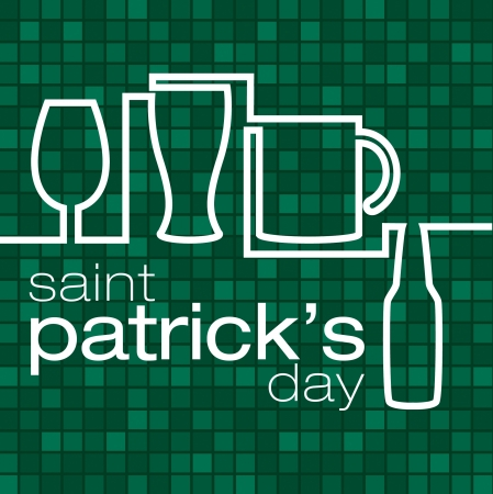 Saint Patrick s Day  beer glass card in vector format  Stock Vector - 19644630