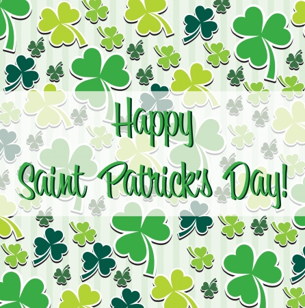Happy Saint Patrick s Day scatter shamrock card in vector format Stock Vector - 19644671