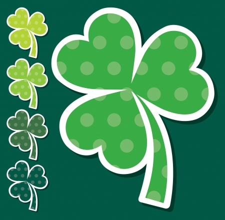 Spotted shamrock stickers in vector format Stock Vector - 19644627