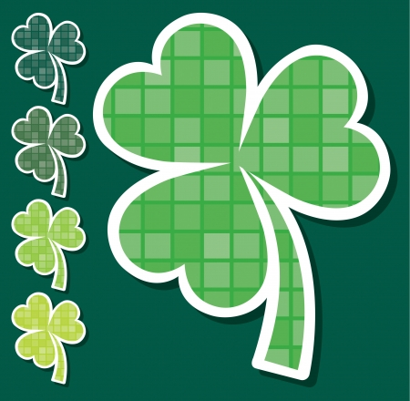 Mosaic shamrock stickers in vector format  Vector