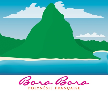 motu: Otemanu mountain of Bora Bora, French Polynesia in vector format
