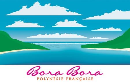 motu: Reefscape of Bora Bora, French Polynesia in vector format