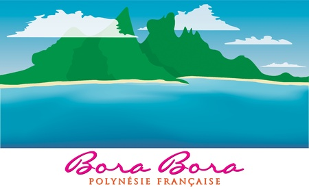 Otemanu mountain of Bora Bora, French Polynesia in vector format  Vector