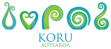 A set of glass Maori Koru curl ornaments  Illustration