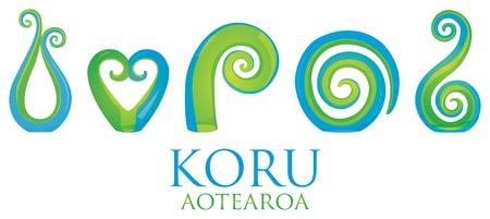 Un conjunto de cristal maoríes Koru rizo adornos Ilustración de vector