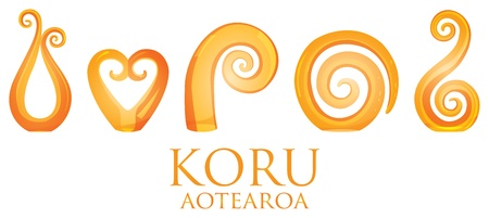 A set of orange glass Maori Koru curl ornaments  Vector