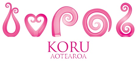 A set of pink glass Maori Koru curl ornaments  Vector