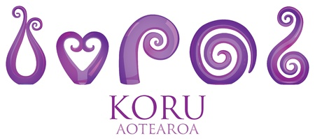 A set of purple glass Maori Koru curl ornaments  Vector