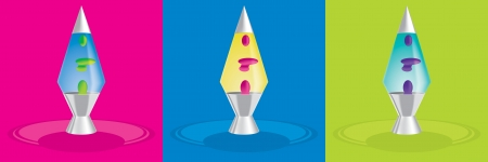 Retro lava lamps in vector format on bright backgrounds  Vector