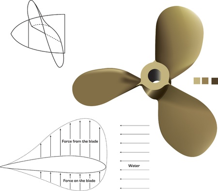 propulsion: A vector propeller complete with technical drawings  Illustration