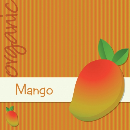 Bright organic mango card in format  Vector