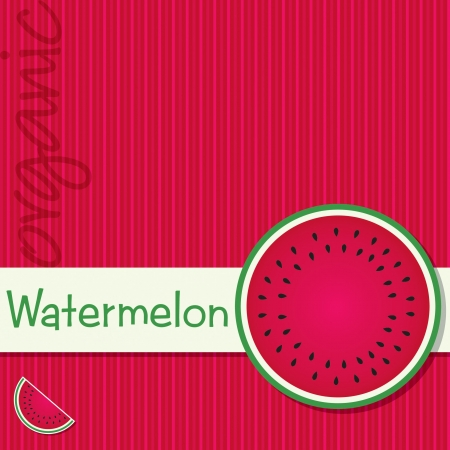 Bright organic watermelon fruit card Vector