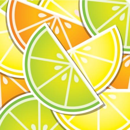 citrus tree: Citrus wedge background card Illustration