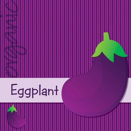 aubergine: Bright organic eggplant aubergine card  Illustration