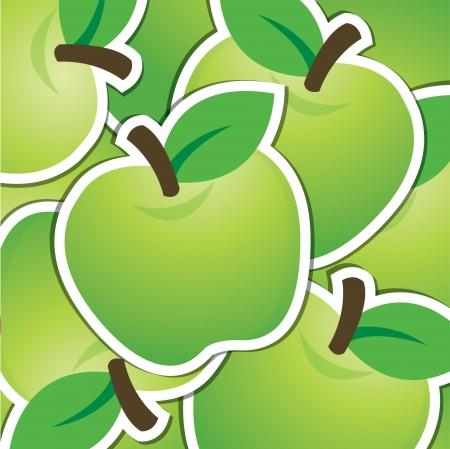 granny smith apple: Green apple sticker background card Illustration