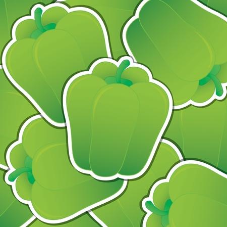 capsicum: Green capsicum sticker card