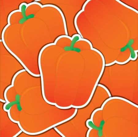 capsicum: Orange capsicum sticker card