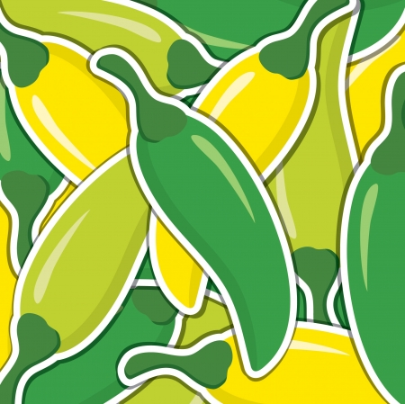 Lime, green and yellow chilli pepper background card