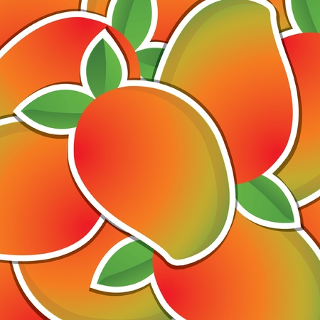 mango fruta: Mango fondo de la tarjeta etiqueta Vectores