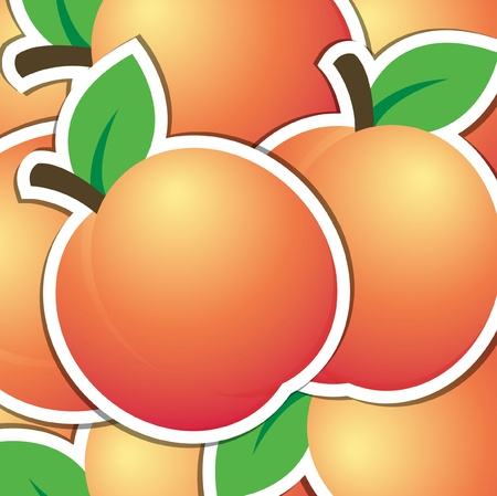 peach tree: Peach sticker background card  Illustration