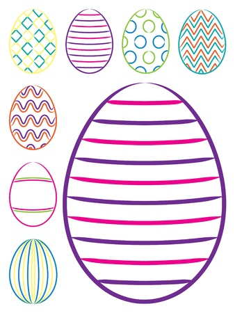 Bright hand drawn Easter eggs  Vector