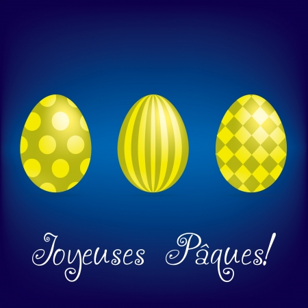 French  Happy Easter  bright egg card  Vector