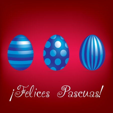Spanish  Happy Easter  bright egg card  Vector