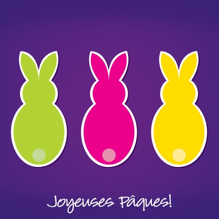 French Easter Bunny card Vector