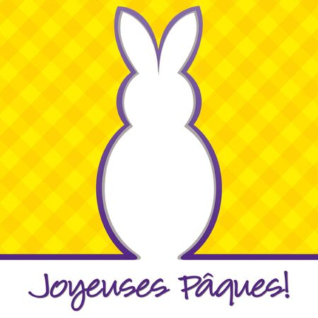 French  Happy Easter  bright bunny cut out card in format  Vector