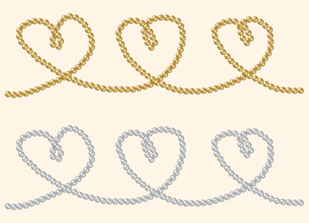 String of rare gold and silver pearls in a heart shape in vector format  Vector