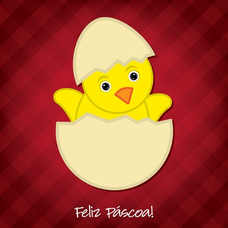 portugese: Baby Chick Easter card in vector format