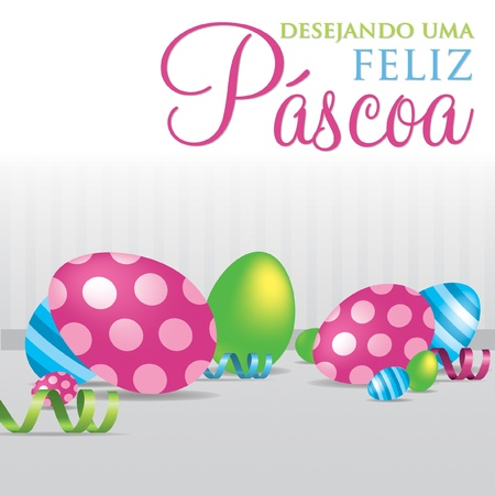 Portuguese  Wishing you a Happy Easter  scattered egg cards in vector format  Stock Vector - 19734947