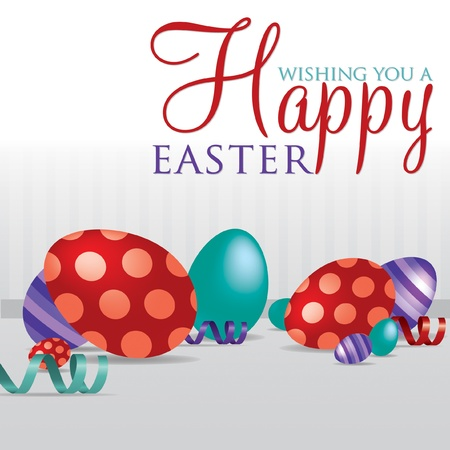 Wishing you a Happy Easter  scattered egg cards in vector format  Stock Vector - 19734955
