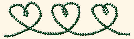 String of green tinged South Sea black pearls in a heart shape in vector format  Vector