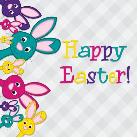 Hiding Easter Bunnies card in vector format  Vector