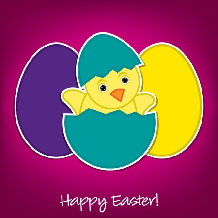Baby Chick and eggs Easter card in vector format Vector