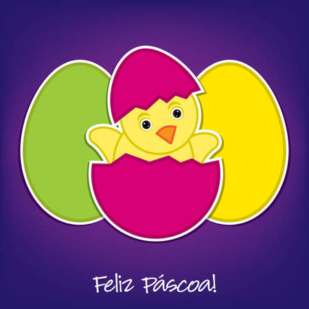 Portuguese Baby Chick and eggs Easter card in vector format Vector