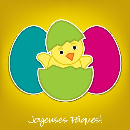 French Baby Chick and eggs Easter card in vector format Vector