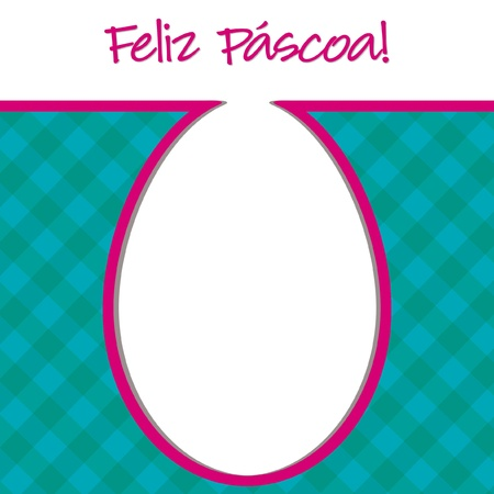 Portuguese  Happy Easter  bright egg card in vector format  Vector